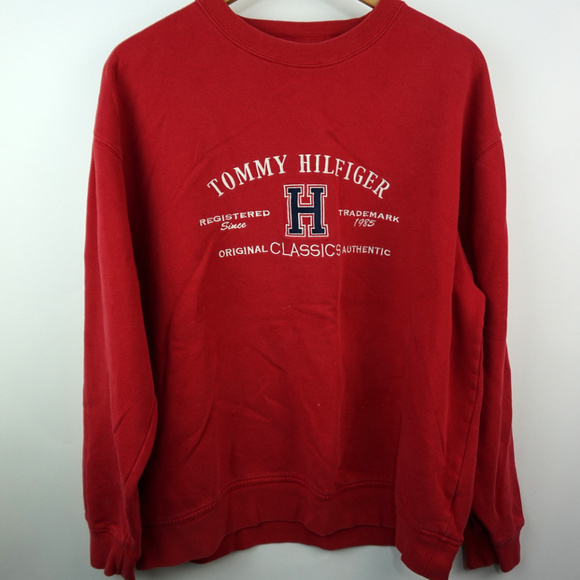 bce3cce386088 Vintage 90s Tommy Hilfiger Spellout Sweatshirt Lg